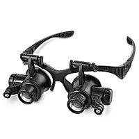 Лупа-очки ювелирные 9892GJ с LED подсветкой, Увеличение 10X-25X