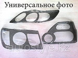 Защита фар Mitsubishi L200 2007+ (очки в кантик цвета карбон) Airplex