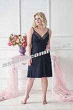 Женская ночная сорочка с кружевом. Цвет черный.