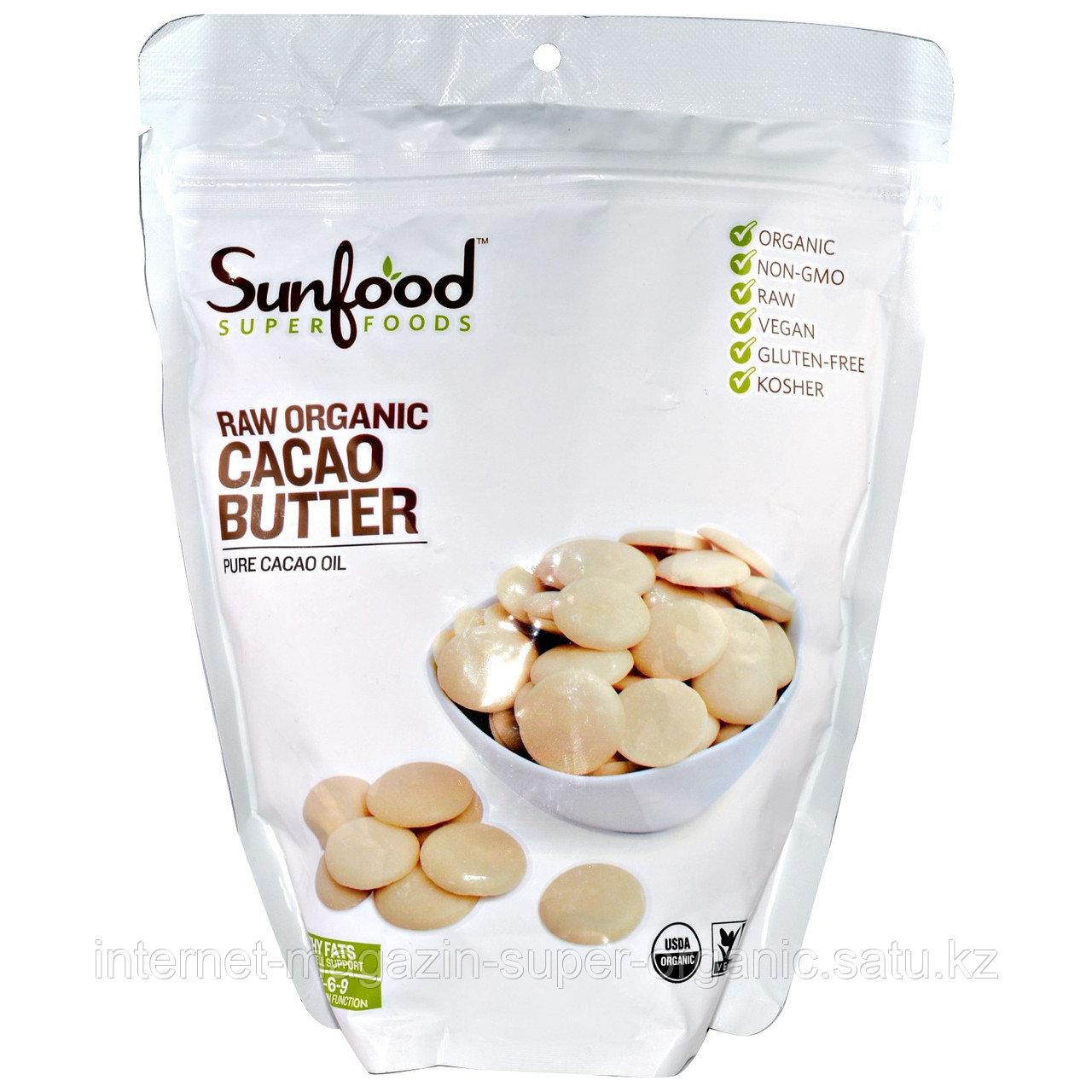 Необработанное органическое какао-масло, 454 г, Sunfood