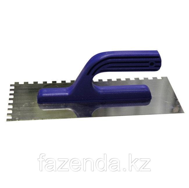 Гладилка ЗУБР нержавеющая с пластиковой ручкой, зубчатая, 8х8мм