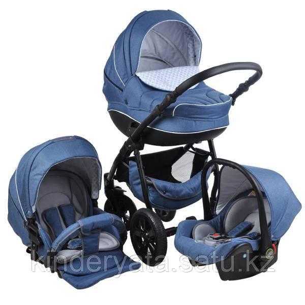 Детская коляска 3 в 1 TUTIS MIMI джинсовый  лен/голубой