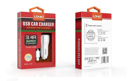Автомобильное зарядное устройство LDNIO C331 Lightning, фото 2