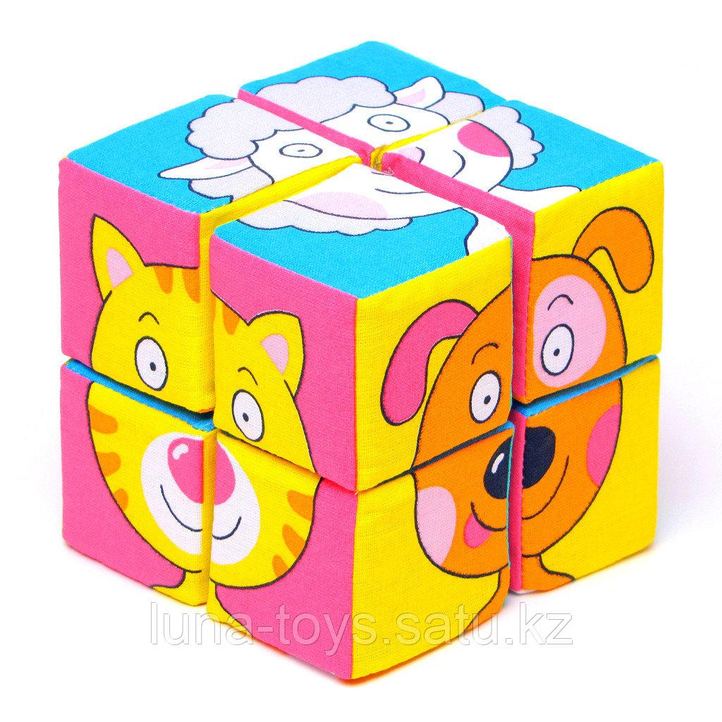 "Набор мягких кубиков ""Собери картинку.Зверята"""