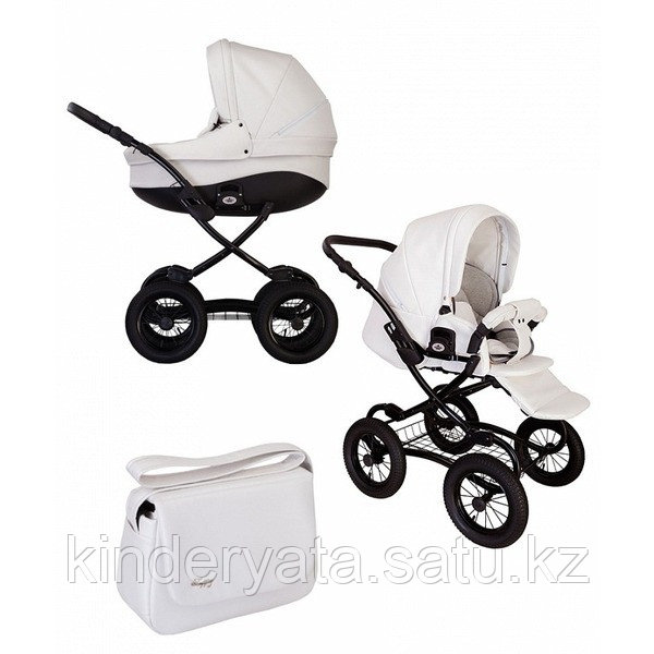 Детская коляска 2 в 1 Tutis Classic New,  белая кожа