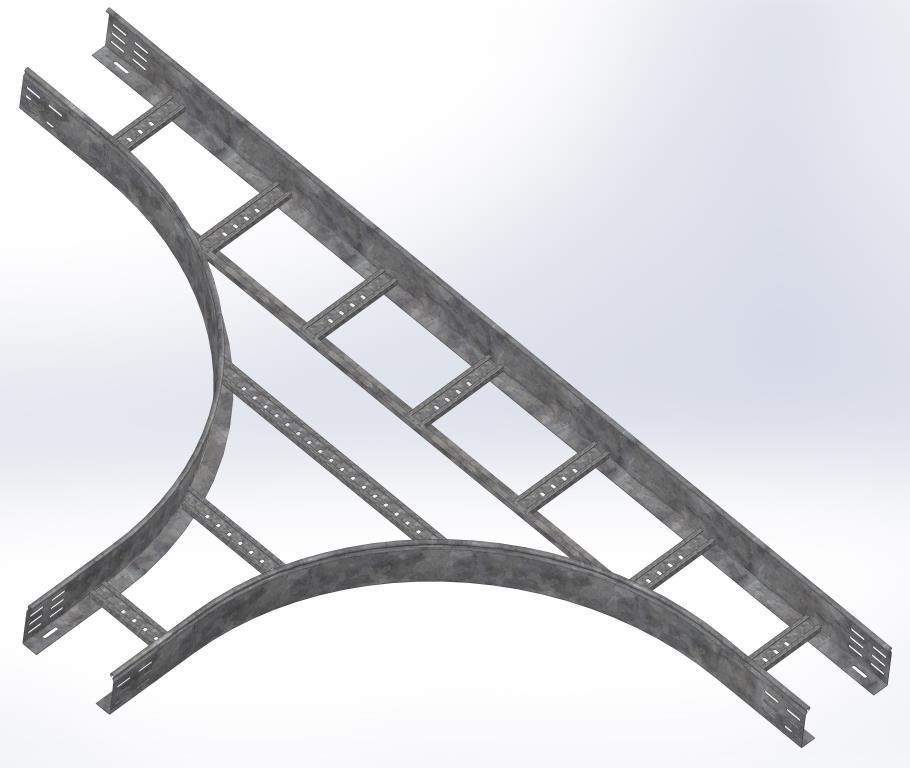 Тройник для лестничного лотка НЛО 500х100х3000 (радиус поворота 600 мм)