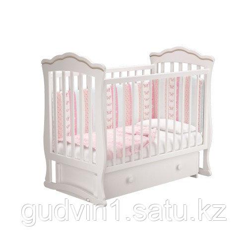 """Кровать детская """"Вэлла 3"""" (Базовая + маятник с ящиком) Можгинский лесокомбинат(белая,слон.кость)"""
