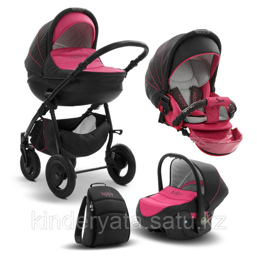 Детская коляска 3 в 1 Tutis Zippy Sport Plus, короб+прогулка+автокресло, цвет серый-фуксия