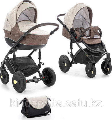 Детская коляска 2 в 1 Tutis Zippy Viva (рама, короб, прогулка) светло-бежевый/шоколад