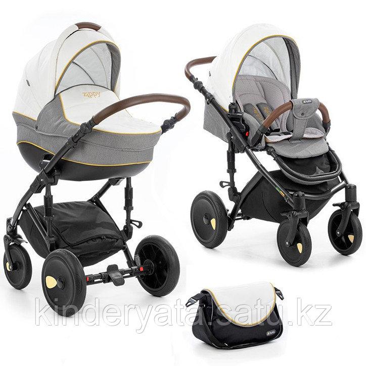 Детская коляска 2 в 1 Tutis Zippy Viva (рама, короб, прогулка) серый/белый