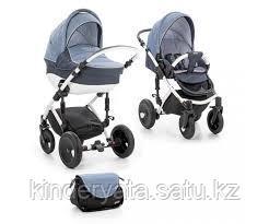Детская коляска 2 в 1 Tutis Zippy Viva (рама, короб, прогулка,  темно-синий/джинса