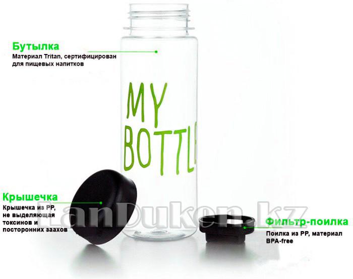 Бутылочка с чехлом для напитков My Bottle 500 мл ( май батл зеленая) - фото 2