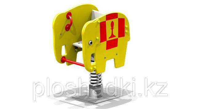 Качеля пружина детская, металлическая, в виде слоника, жёлтая