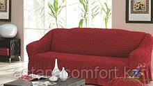 Натяжные чехлы на диван 3-х местный. Бардовый