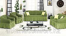 Натяжные чехлы на диван большой, диван малый и 2 кресла. Хаки