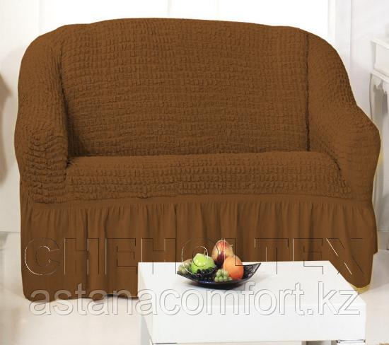 Натяжные чехлы на диван 2-х местный. Шоколад