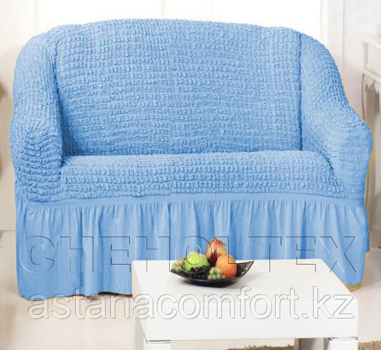 Натяжные чехлы на диван 2-х местный. Голубой