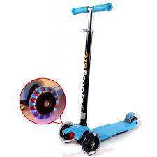 Самокат трехколесный 21st scooter maxi со светящимися колесами 21vek синий, фото 2