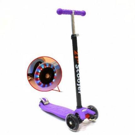 Самокат трехколесный 21st scooter maxi со светящимися колесами 21vek фиолетовый , фото 2