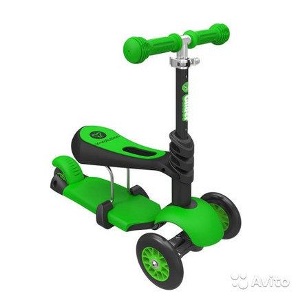 Самокат Scooter трехколесный 3 в 1 зеленый , фото 2