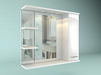 Шкаф навесной с зеркалом Дуга 700 мм 1 дверь+ 2 полки, фото 1