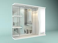 Шкаф навесной с зеркалом Орхидея 850 мм 1 дверь + 2 полки, фото 1