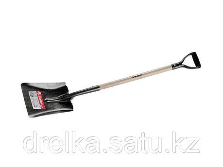 Лопата ЗУБР МАСТЕР ЗАВИДОВО совковая, деревянный черенок из дуба, пластиковая рукоятка, 320х250x1200мм, фото 2