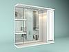 Шкаф навесной с зеркалом Рубин 850 мм 1 дверь + 2 полки