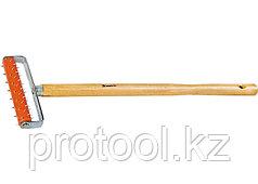 Валик для гипсокартона, 150 мм, игольчатый, деревянная ручка 500 мм// MATRIX