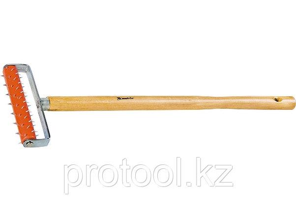 Валик для гипсокартона, 150 мм, игольчатый, деревянная ручка 500 мм// MATRIX, фото 2