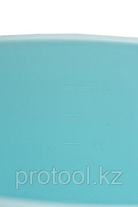Ведро пластмассовое круглое 12л, с крышкой, бирюзовое //ТМ Elfe /Россия, фото 2