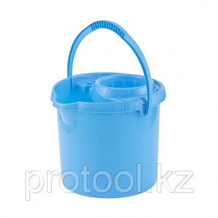 Ведро пластмассовое круглое с отжимом 9л, голубое //ТМ Elfe /Россия, фото 2