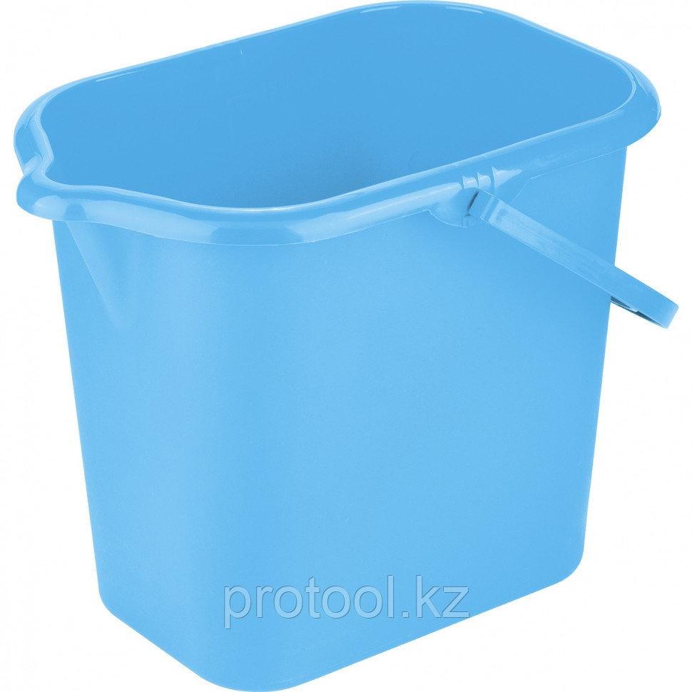 Ведро пластмассовое прямоугольное 16л, голубое//ТМ Elfe light /Россия