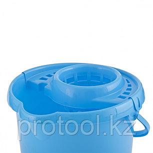 Ведро пластмассовое круглое с отжимом 12л, голубое //ТМ Elfe /Россия, фото 2