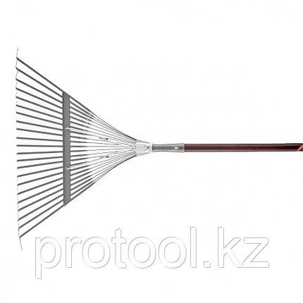 Веерные грабли с деревянным черенком, стальные усилинные, покрытые эпоксидом // PALISAD LUXE, фото 2