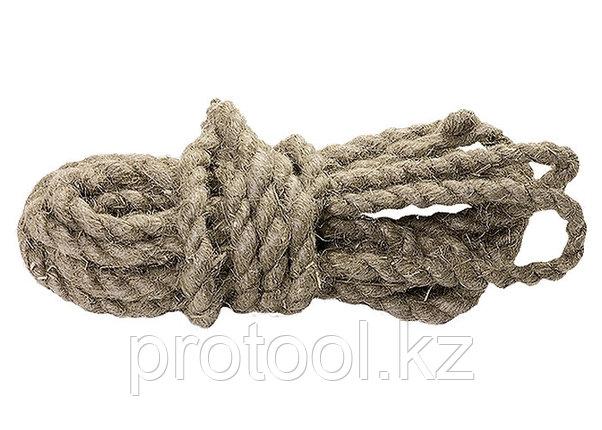 Веревка льнопеньковая, D 10 мм, L 6 м, крученая// СИБРТЕХ//Россия, фото 2
