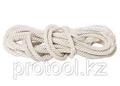 Веревка х/б, D 16 мм, L 11 м, крученая, 497 кгс// СИБРТЕХ//Россия