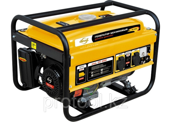 Генератор бензиновый GE 4000, 3,5 кВт, 220В/50Гц, 15 л, ручной старт // DENZEL