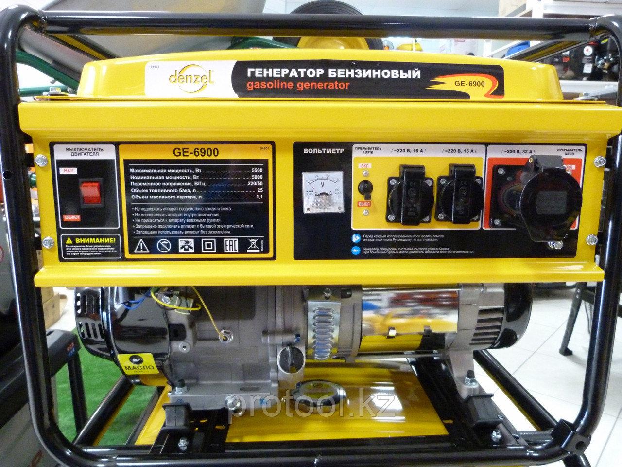 Генератор бензиновый GE 6900, 5,5 кВт, 220В/50Гц, 25 л, ручной старт// DENZEL