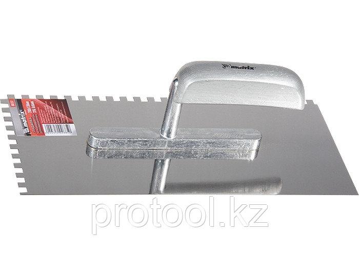 Гладилка из нержавеющей стали, 280 х 130 мм, деревянная ручка, зуб 6 х 6 мм// MATRIX