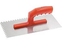 Гладилка стальная, 280 х 130 мм, зеркальная полировка, пластмас. ручка, зуб 6 х 6 мм// MATRIX