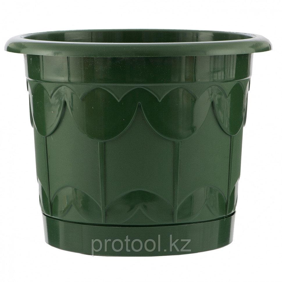 Горшок Тюльпан с поддоном, зеленый, 6 л // PALISAD