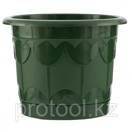 Горшок Тюльпан с поддоном, зеленый, 6 л // PALISAD, фото 2