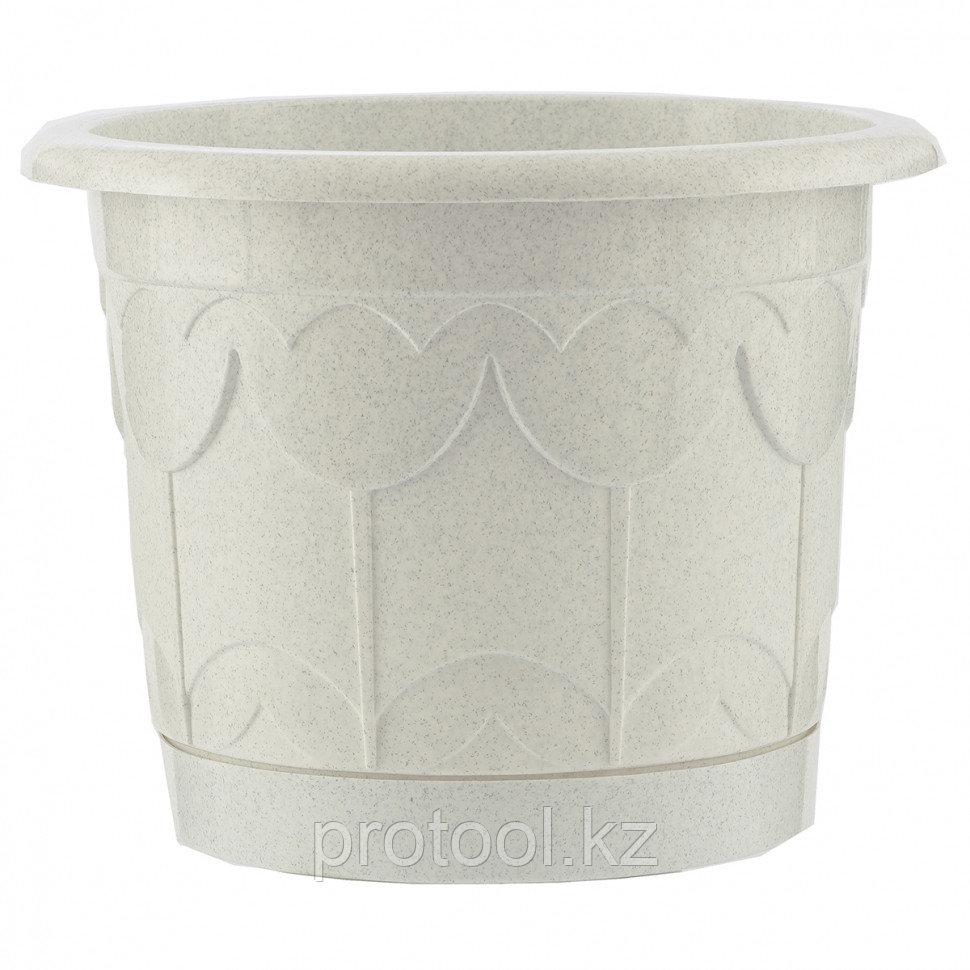 Горшок Тюльпан с поддоном, мрамор, 2,9 л // PALISAD