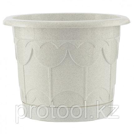 Горшок Тюльпан с поддоном, мрамор, 6 л // PALISAD, фото 2