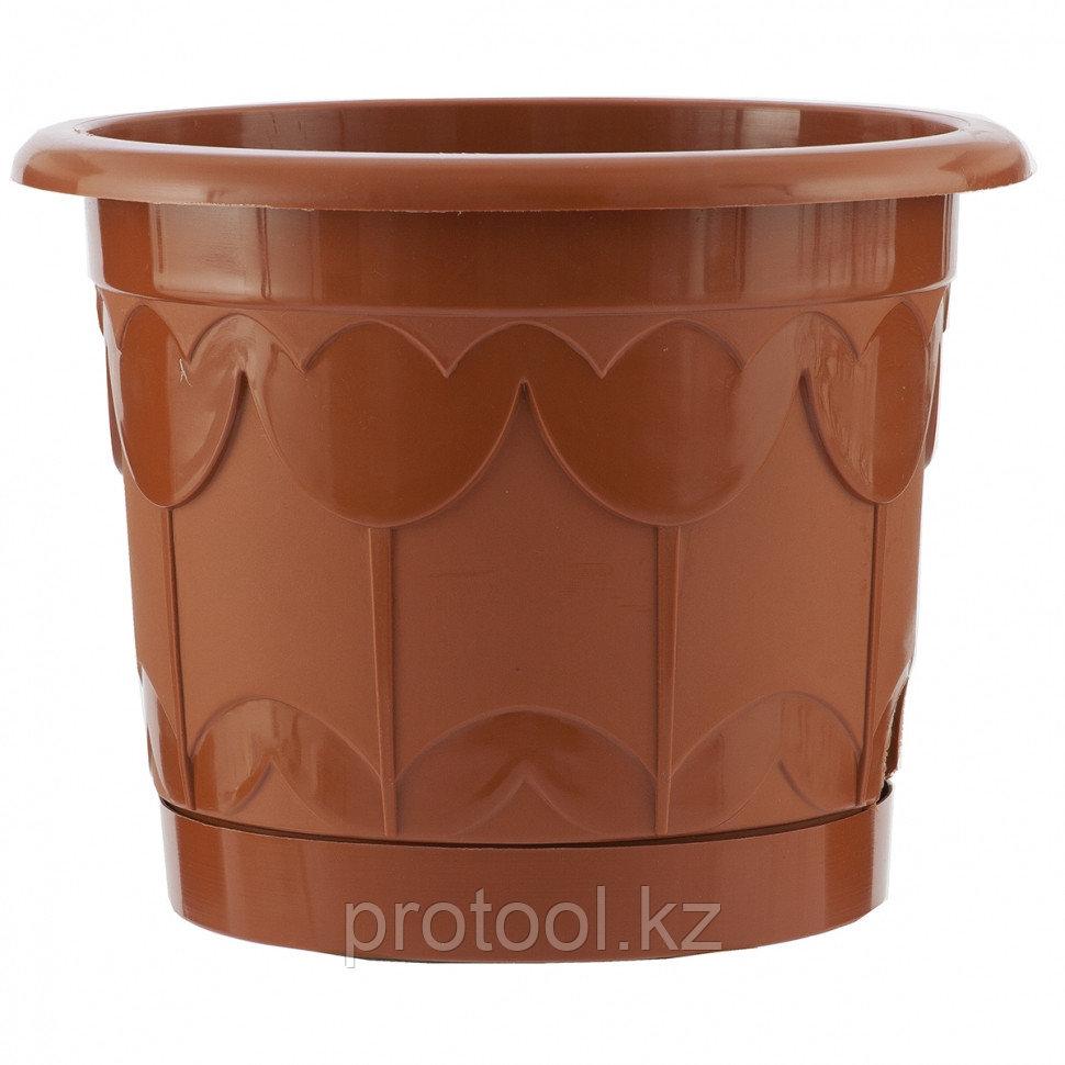 Горшок Тюльпан с поддоном, терракотовый, 1,4 л // PALISAD