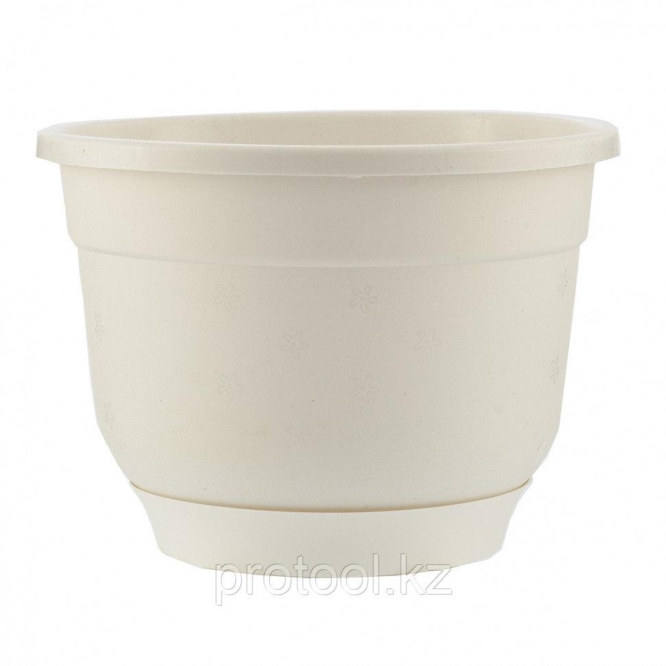 Горшок Флокс с поддоном, белый, 5,5 л // PALISAD