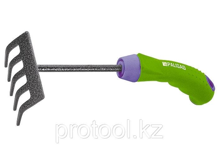 Грабли 5-зубые, 90 мм, защитное покрытие, обрезиненная эргономичная рукоятка// PALISAD
