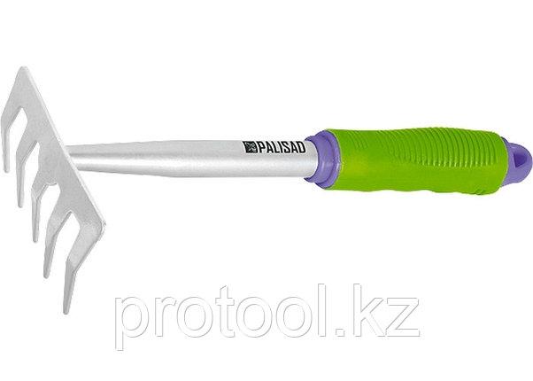 Грабли 5-зубые, 115x280 мм, обрез. рукоятка, может использ. в сборе с ручкой 63016, 63017// PALISAD, фото 2