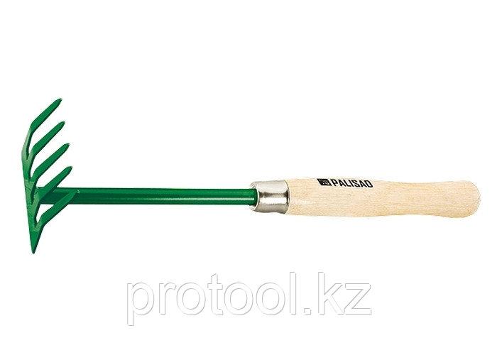 Грабли 5-зубые, 90 мм, деревянная рукоятка 340 мм// PALISAD